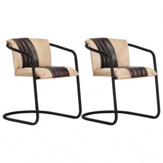 vidaXL Esszimmerstühle 2 Stk. Braun Echtleder