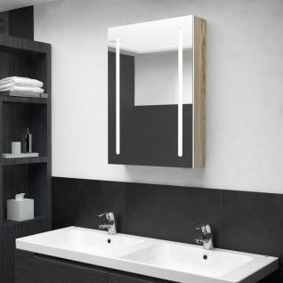 vidaXL LED-Bad-Spiegelschrank Weiß und Eiche-Optik 50x13x70 cm