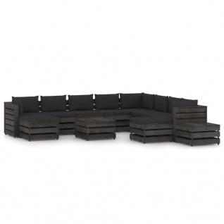 vidaXL 12-tlg. Garten-Lounge-Set mit Kissen Grau Imprägniertes Holz