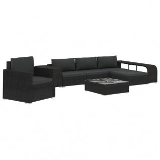 vidaXL 8-tlg. Garten-Lounge-Set mit Auflagen Poly Rattan Schwarz - Vorschau 2