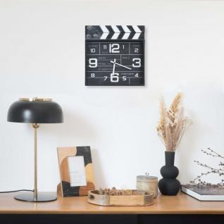 vidaXL Wanduhr Kino-Design Schwarz 33x5x34 cm Metall und MDF