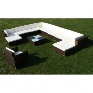 vidaXL 12-tlg. Garten-Lounge-Set mit Auflagen Poly Rattan Braun - Vorschau 4