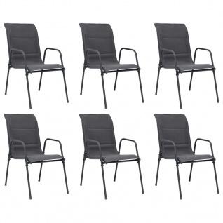 vidaXL Stapelbare Gartenstühle 6 Stk. Stahl und Textiline Anthrazit