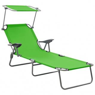 vidaXL Sonnenliege mit Sonnenschutz Stahl Grün