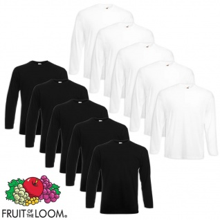 Fruit of the Loom Longsleeve Valueweight T-Shirt 10 Stk Weiß/Schwarz M