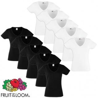 Fruit of the Loom Damen Valueweight T-Shirt 10 Stk. V-Ausschnitt Gr. S