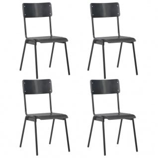 vidaXL Esszimmerstühle 4 Stk. Schwarz Massives Sperrholz Stahl