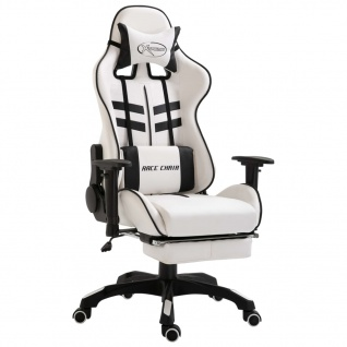 vidaXL Gaming-Stuhl mit Fußstütze Schwarz PU