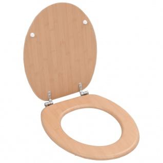 vidaXL Toilettensitz mit Hartschalendeckel MDF Bambus-Design