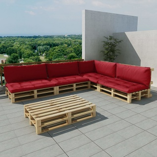 vidaXL 15-tlg. Garten-Lounge-Set Holzpaletten Weinrot