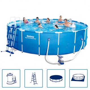 Bestway Steel Pro Rundes Schwimmbad Pool Stahlrahmen 549x122 cm 56462