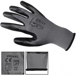 vidaXL Arbeitshandschuhe Nitril 24 Paar grau und schwarz Gr. 8/M - Vorschau 3