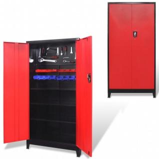 vidaXL Werkzeugschrank mit 2 Türen Stahl 90x40x180 cm Schwarz/Rot