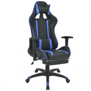 vidaXL Neigbarer Racing-Bürostuhl mit Fußstütze Blau
