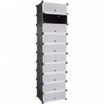 Schuhregal Schuhschrank mit 10 Fächern 47 x 37 x 172 cm schwarz-weiß
