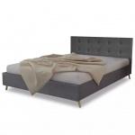 Qualitativ Hochwertiges Bett 200 x 140 cm Holz mit Stoffbezug Dunkelgrau