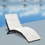 vidaXL Klappbare Sonnenliege mit Auflage Poly Rattan Schwarz