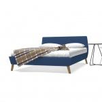 vidaXL Bett mit Memory-Schaum-Matratze 140 x 200 cm Stoff Blau (245126+241074)