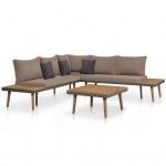vidaXL Garten-Sofagarnitur 16-tlg. Massives Akazienholz und Stahl