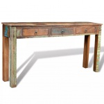 Beistelltisch Tisch mit 3 Schubladen Massivholz Teak Antik