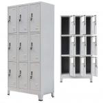 vidaXL Schließfachschrank mit 9 Fächern Stahl 90x45x180 cm Grau