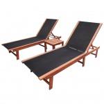 vidaXL Sonnenliegen mit Tisch Set 3-tlg. Akazienholz