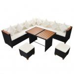 vidaXL 7-tlg. Garten-Lounge-Set mit Auflagen Poly Rattan Schwarz