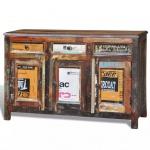 vidaXL Anrichte Recyceltes Massivholz Vintage mit 3 Schubladen 3 Türen