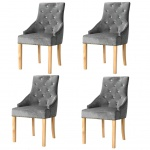vidaXL Esszimmerstühle 4 Stk. Massive Eiche und Samt Silbern