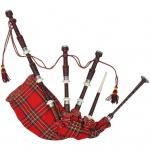 Schottischer Dudelsack Highland Bagpipe Sackpfeife Steward Tartan Rot