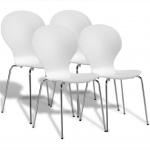 4 stapelbare Esszimmerstühle Schmetterlings-Design weiß