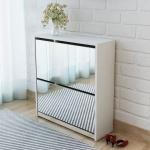 vidaXL Schuhschrank mit 2 Fächern Spiegel Weiß 63x17x67 cm