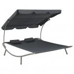 vidaXL Garten-Sonnenliege für 2 Personen mit Dach 200x173x135 cm Grau