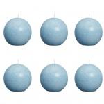 Bolsius Kugelkerzen-Set 6 Stk. Rustikal Aquamarinblau 80 mm