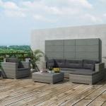 vidaXL Garten-Lounge-Set 17-tlg. Poly Rattan Grau