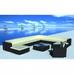vidaXL 12-tlg. Garten-Lounge-Set mit Auflagen Poly Rattan Schwarz
