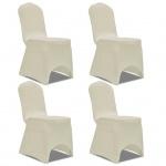 vidaXL Stretch Stuhlbezug 4 Stück Creme