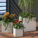 3 x Blumentopf Blumenkübel Übertopf Pflanzenkübel Weiß