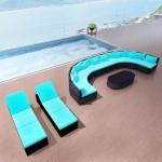 vidaXL 13-tlg. Garten-Lounge-Set mit Auflagen Poly Rattan Blau