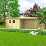vidaXL Blockhaus Gartenschuppen Massivholz 28 mm 6, 3 x 3 m