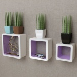 3er Set MDF Hängeregal Cube Regal Regalwürfel f. Bücher/DVD, weiß-lila