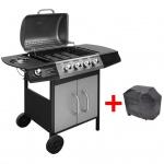 vidaXL Gasgrill Barbecue-Grill 4+1 Brenner Schwarz und Silber