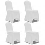 vidaXL Stretch Stuhlbezug 4 Stück Weiß