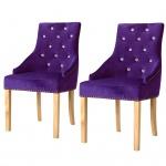 vidaXL Esszimmerstühle 2 Stk. Massive Eiche und Samt Lila