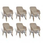 vidaXL Esszimmerstühle 6 Stk. mit Eichenrahmen Stoff Beige