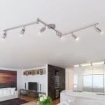 vidaXL Deckenleuchte mit 6 LED Spotlights Satin Nickel