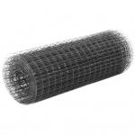 vidaXL Maschendraht Stahl mit PVC-Beschichtung 10×0, 5 m Quadrat Grau