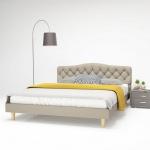 vidaXL Bett mit Matratze 160 x 200 cm Stoff Beige