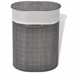 vidaXL Bambus-Wäschekorb Oval Dunkelbraun