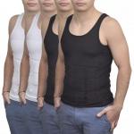 Herren Kompressionskleidung Shapewear Gr.L Tanktop 4-tlg. schwarz/weiß